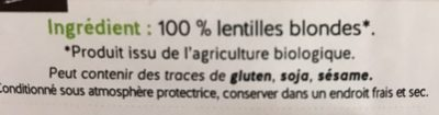 Lentilles blondes - Ingredients