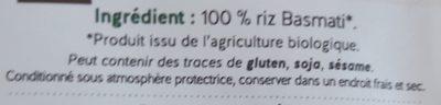 Riz Basmati blanc - Ingredients