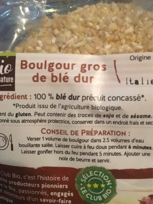 Boulgour gros - Ingredients