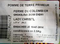 Pommes de terre primeur Lady Christl Ferme du Colombier - Ingredients - fr