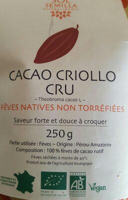 Fèves natives non torréfiées - Ingrediënten