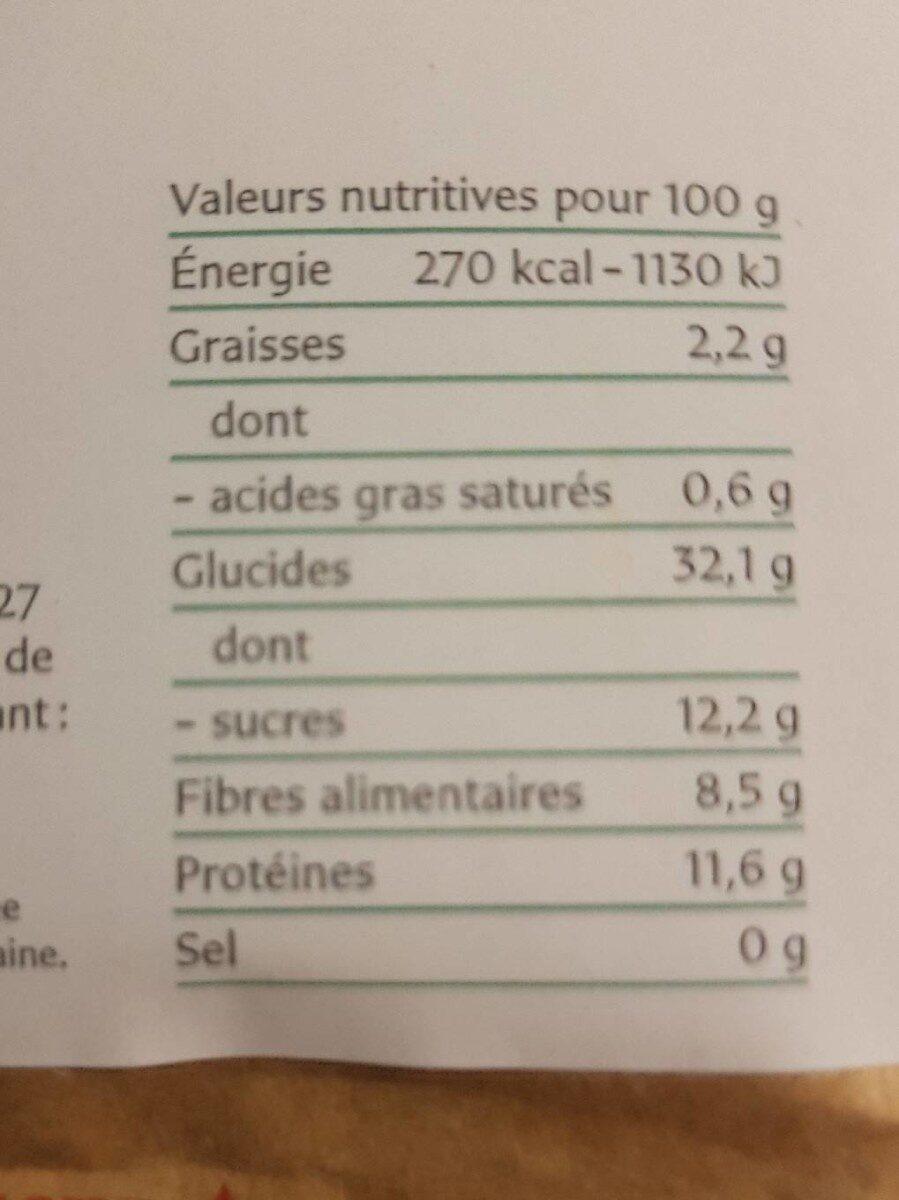 Maca En Poudre Bio - 250 G - Sol Semilla - Nutrition facts - fr