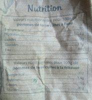 Pommes de terre bio «non lavées» à chair tendre - Valori nutrizionali - fr