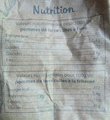 Pommes de terre bio «non lavées» à chair tendre - Valori nutrizionali