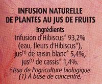 Hibiscus au Jus de Cassis - Ingredients
