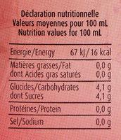 Hibiscus au Jus de Cassis - Nutrition facts