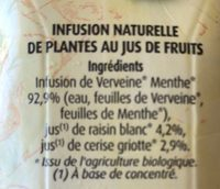 Herbalist Bio Verveine au Jus de Cerise Griotte - Ingredients