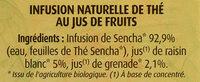 Thé Vert au Jus de Grenade - Ingredients