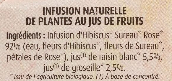 Hibiscus Sureau au Jus de Groseille - Ingredients - fr