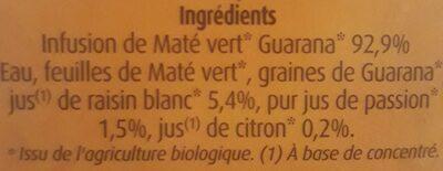 Maté Vert au Jus de Passion & Guarana - Ingredients