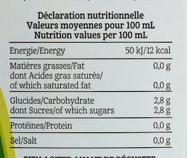 Thé Vert Sencha au Jus de Citrons - Nutrition facts