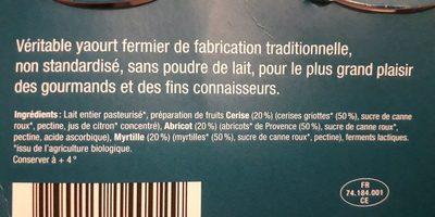 Yaourts Fruits Cerise Abricot Myrtille - Ingrédients