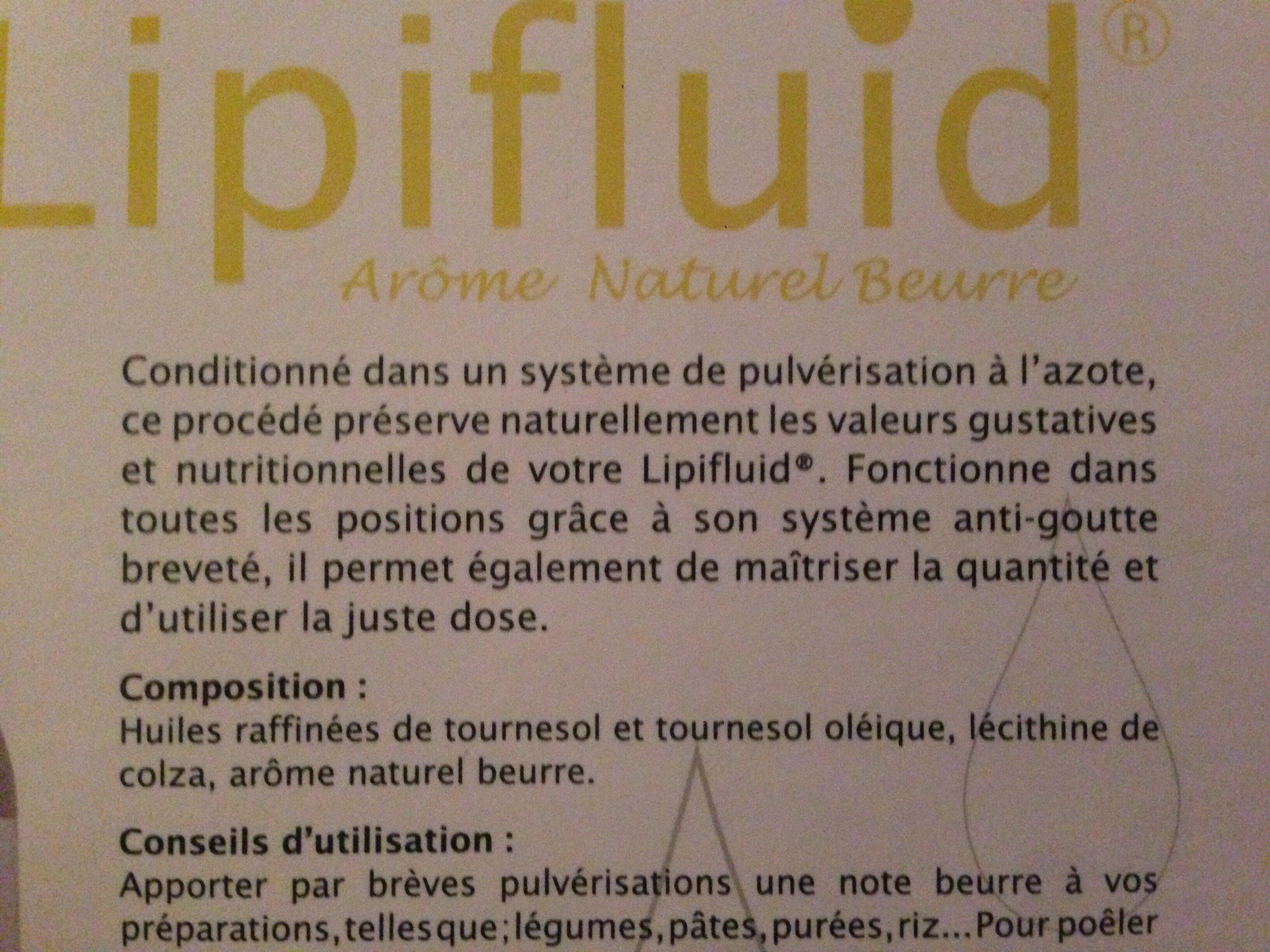 Lipifluid Arôme Naturel Beurre - 300 ML - Ingrediënten