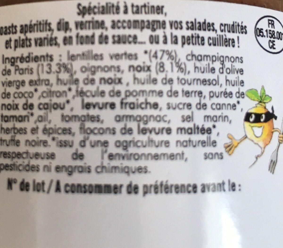 Terrine Végétarienne De Lentilles Délices Des Baronnies - Ingredients