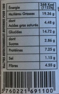Terrine Végétarienne De Lentilles Délices Des Baronnies - Nutrition facts
