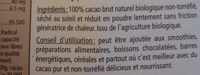 Crubio Cacao En Poudre Cru Et Biologique - Ingrediënten