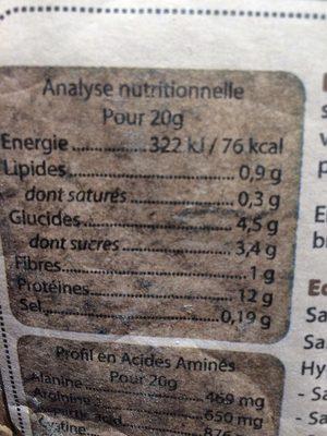 Proteine de riz vanille - Informations nutritionnelles