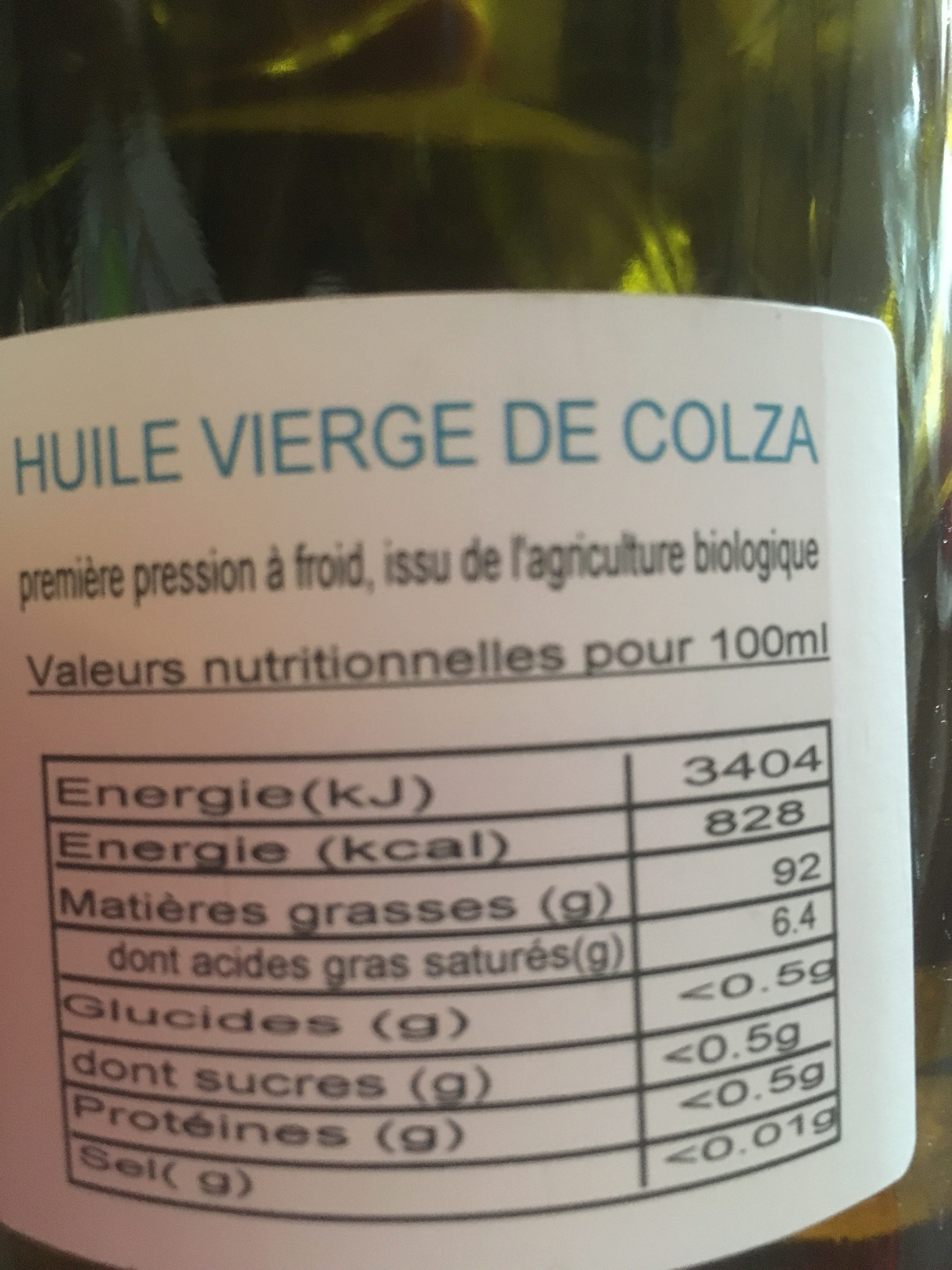 Huile vierge de colza - Ingredienti - fr