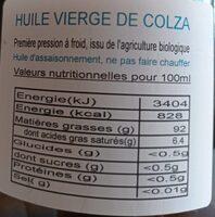 Huile vierge de colza - Valori nutrizionali - fr