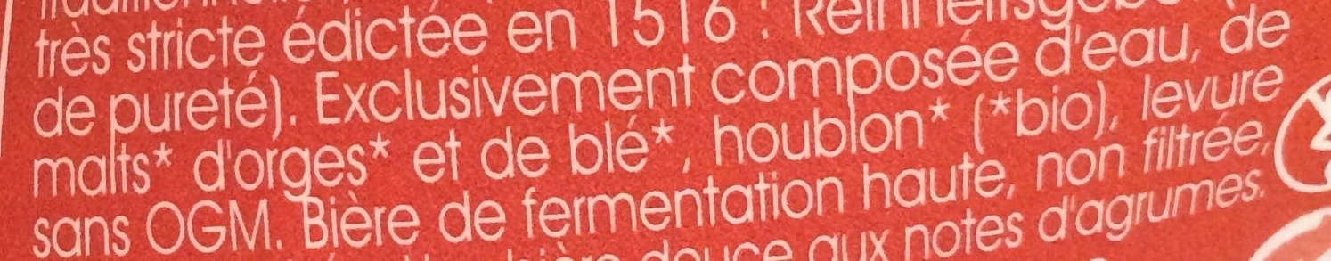 Ambré Bio de Vezelay - Ingrediënten - fr