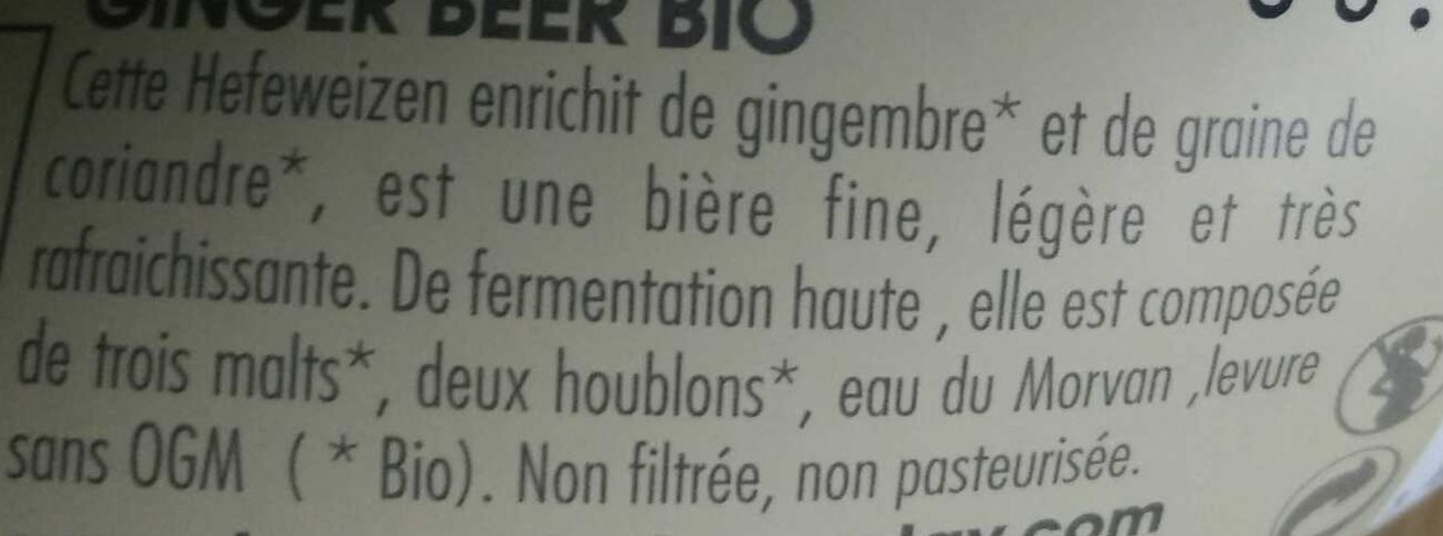 Ginger Beer Bio - Ingrediënten - fr