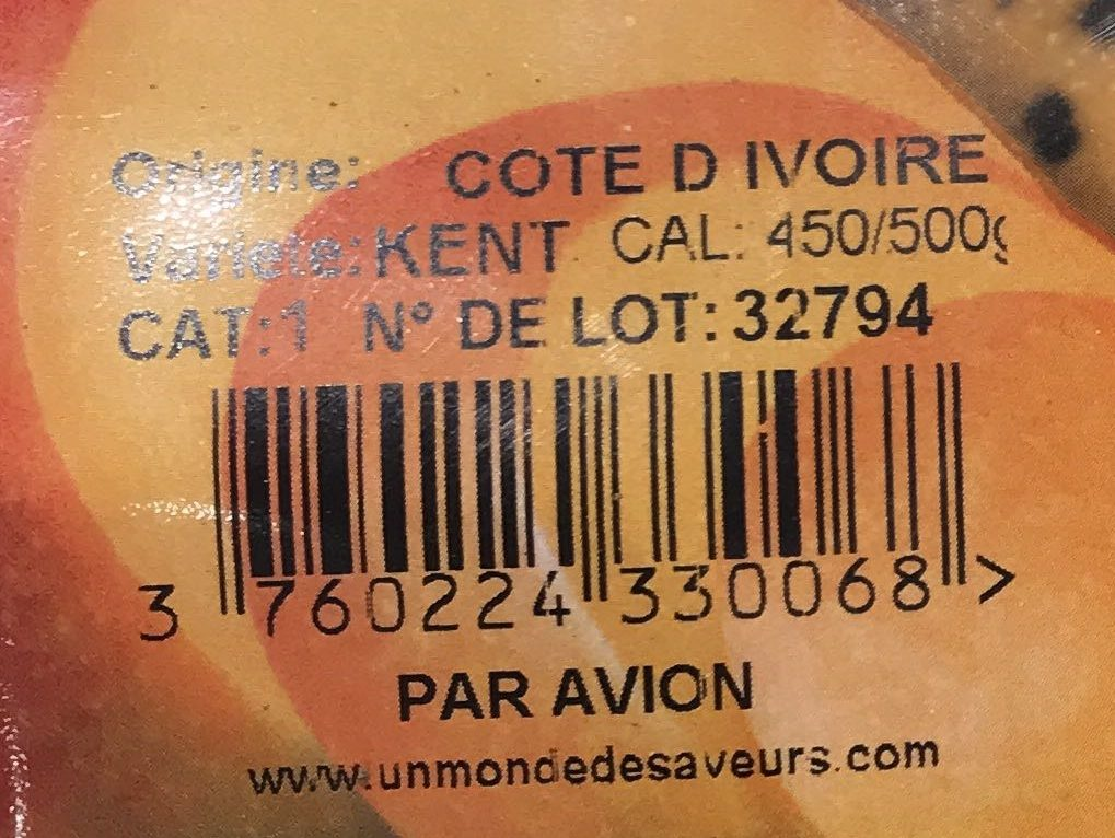 Mangue mûre à point - Ingrediënten - fr