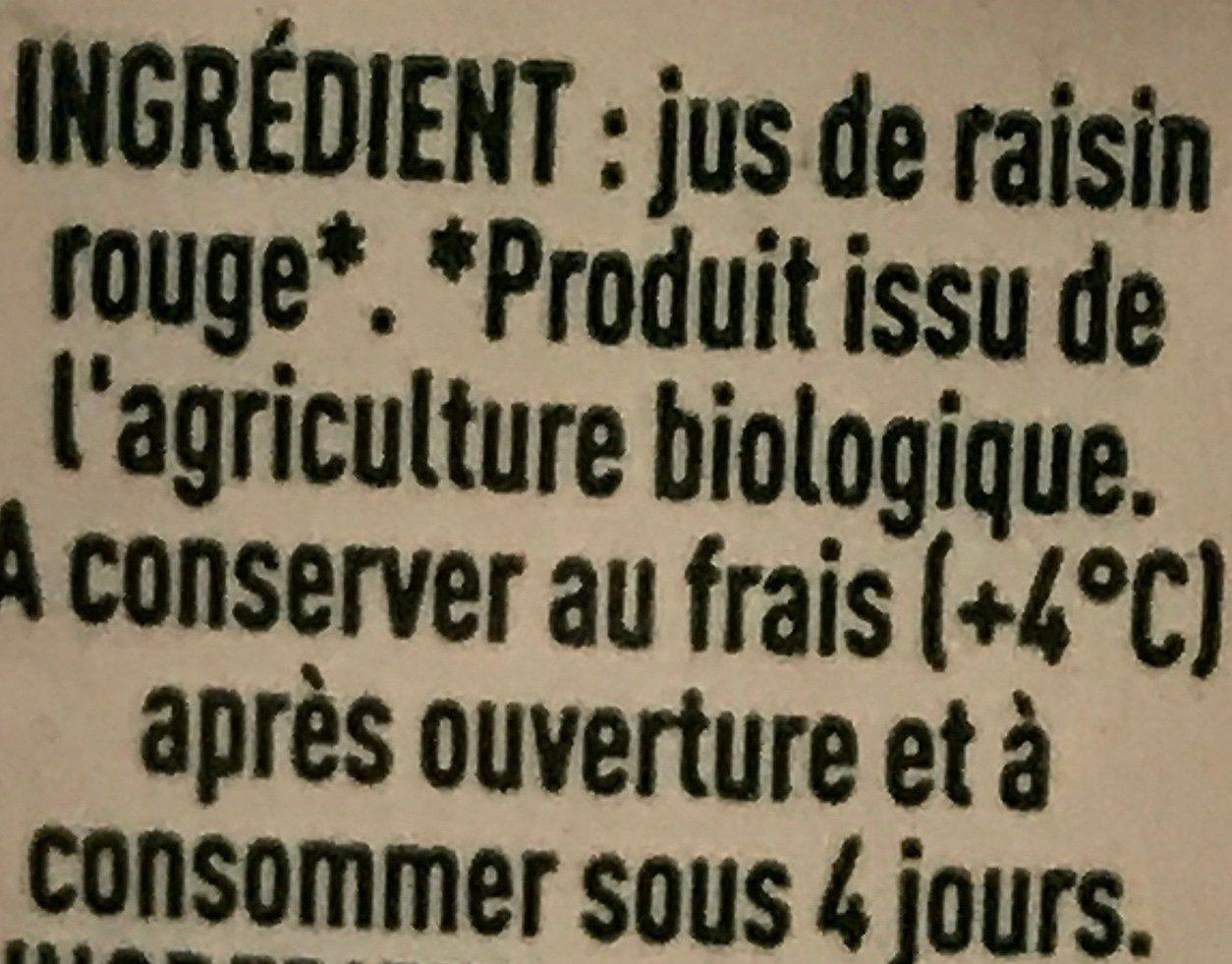 Jus De Raisin Rouge Tetra - Ingredients - fr