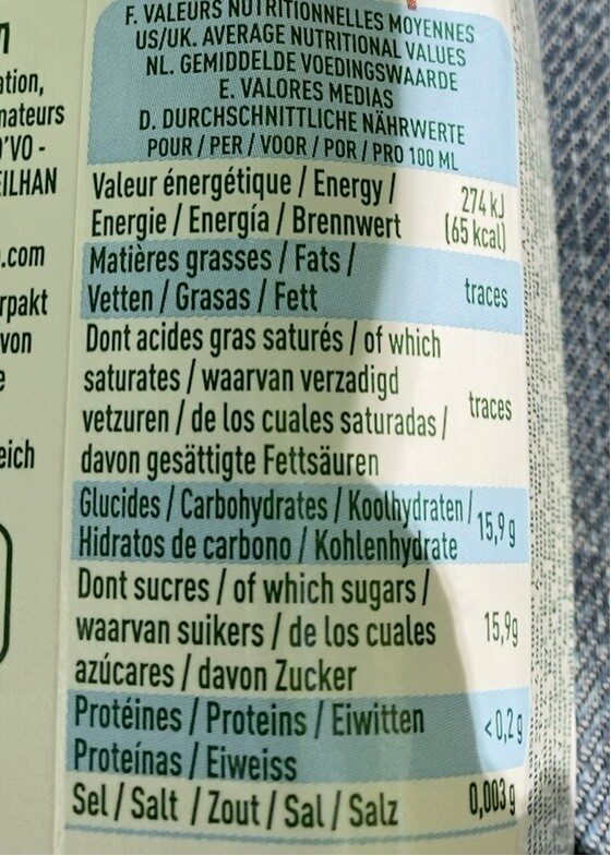 Pur jus de raisin bio - Valori nutrizionali - fr