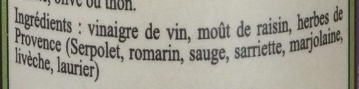 Vinaigre de Vin aux Herbes de Provence - Ingredients