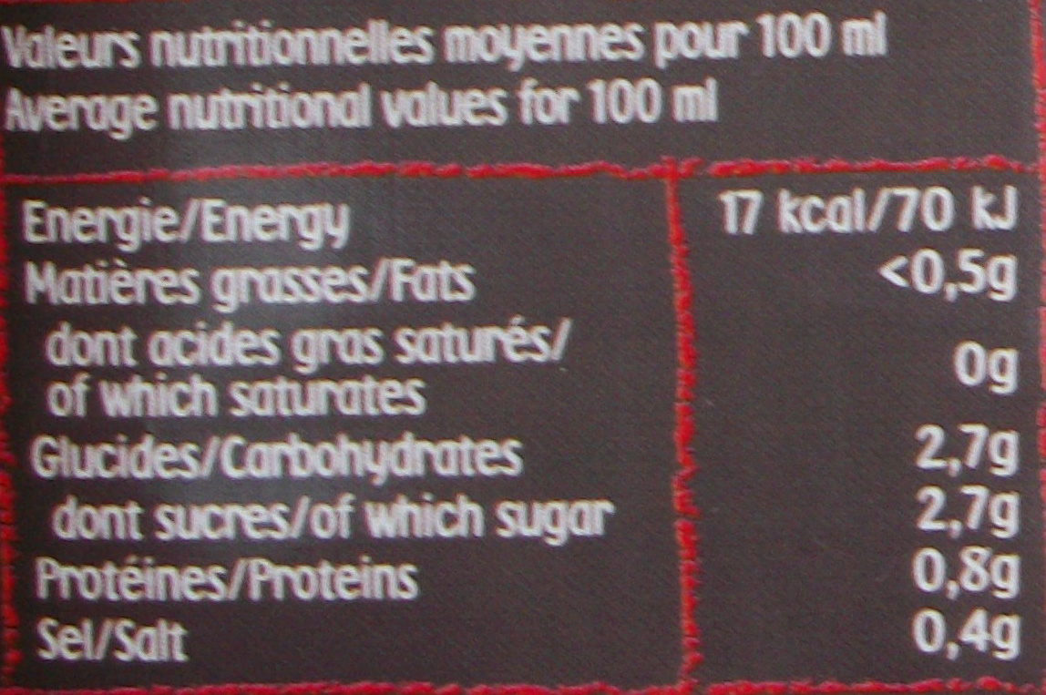 100% pur jus tomate - Informations nutritionnelles - fr