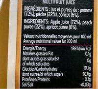 Premium Pur Jus France Pêche-Abricot - Nutrition facts - fr