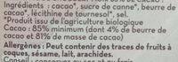 Chocolat noir - Inhaltsstoffe - fr