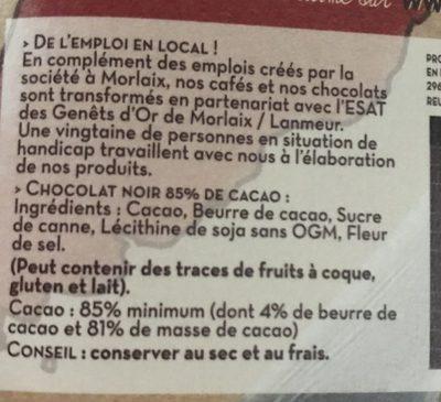 Noir 85% cacao - Ingrediënten