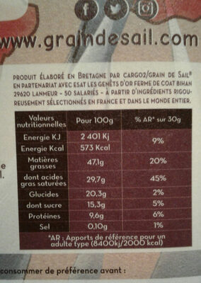 Noir 85% cacao - Voedingswaarden