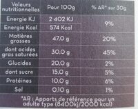 Chocolat noir - Nährwertangaben - fr