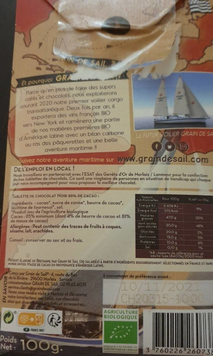 85% cacao noir grain de sail - Nährwertangaben - fr