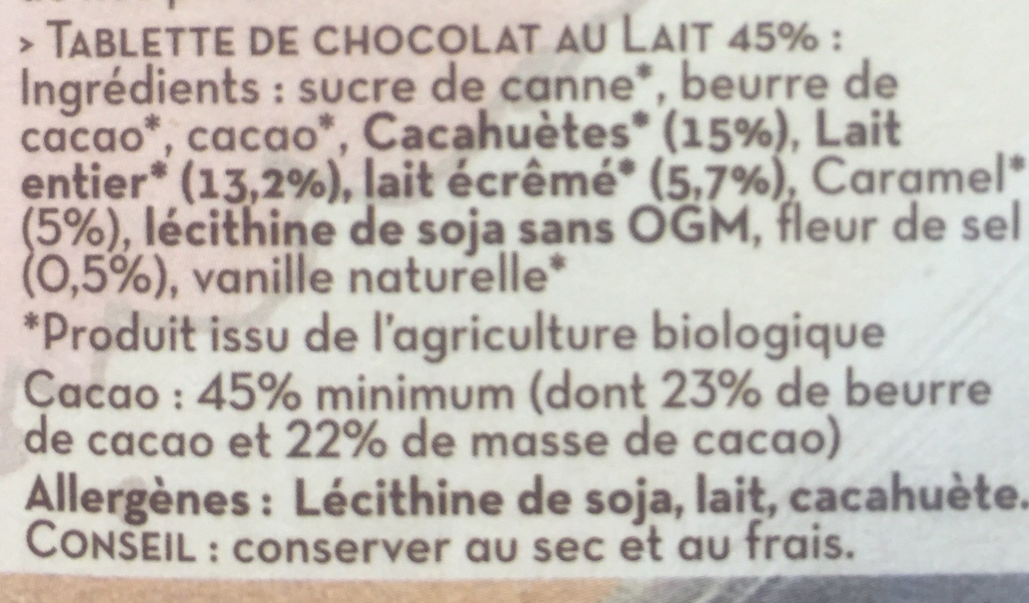 Lait cacahuetes caramel fleur de sel - Ingrediënten - fr