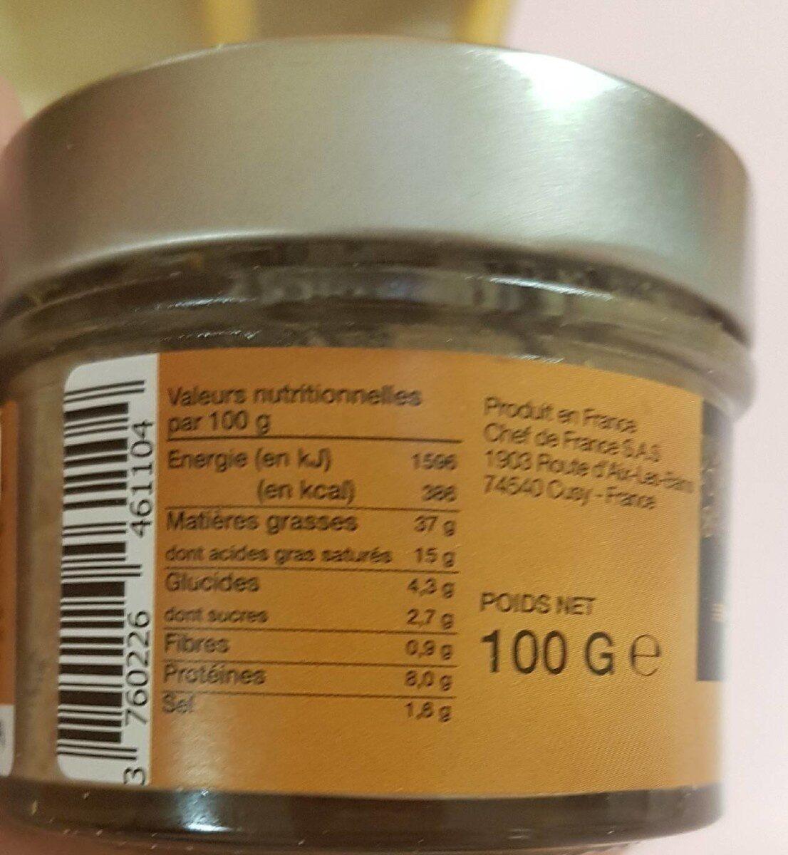 Tartinable canard et cèpes - Nutrition facts - fr