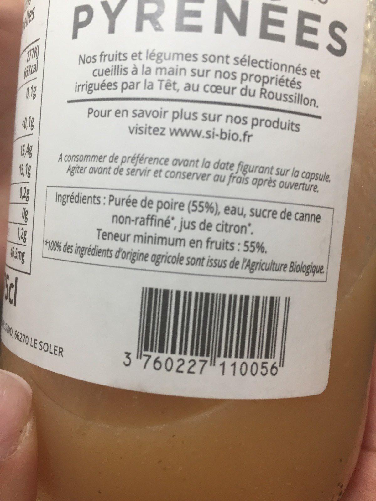 Nectar de poire bio - Ingrédients