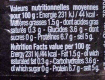 Œufs de Capelan d'Islande Noirs - Nutrition facts