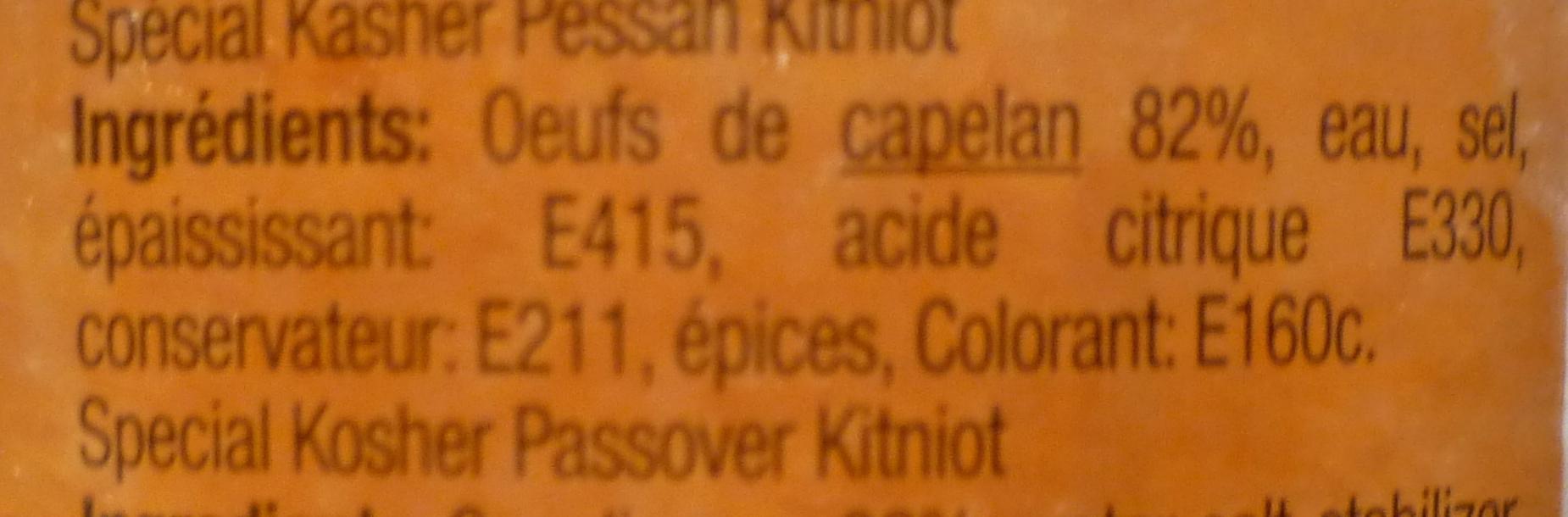 Œufs de capelan d'Islande rouges Cahser - Ingrédients
