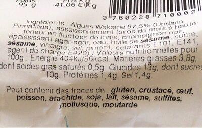 Salade d'algue - Informations nutritionnelles - fr