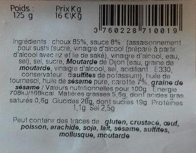 Salade de Choux - Ingrédients - fr
