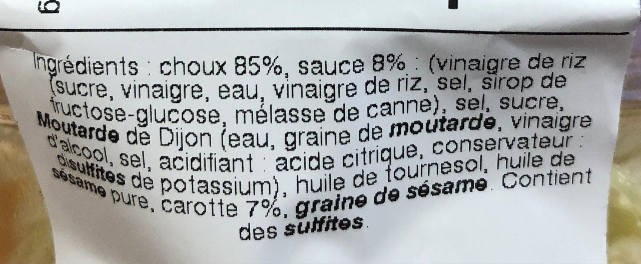 Salade de Choux - Informations nutritionnelles - fr