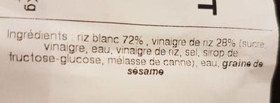 Riz Vinaigré - Informations nutritionnelles