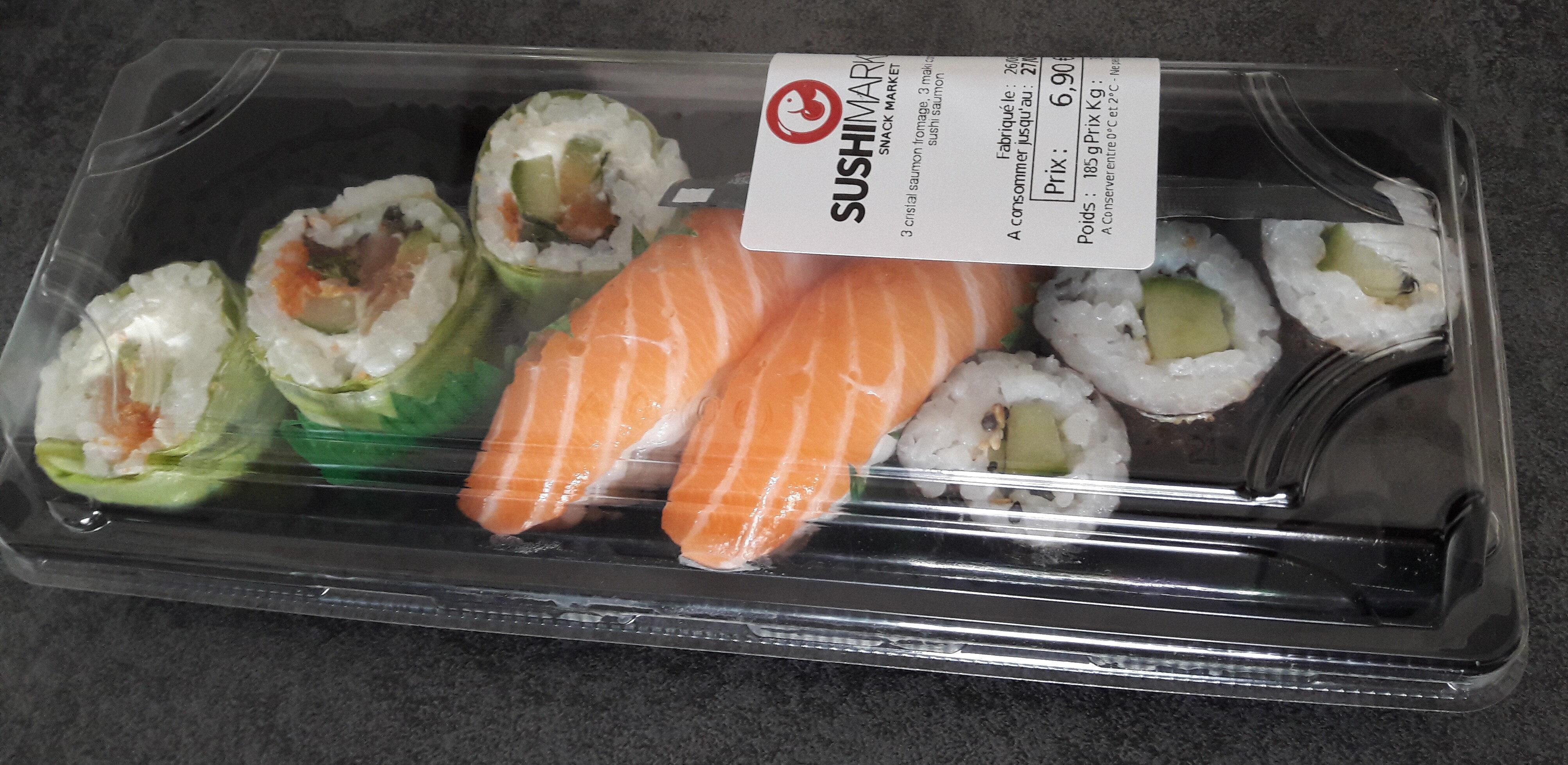 3 cristal saumon fromage, 3 maki concombre, 2 sushis saumon - Product - fr