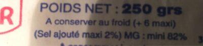 Beurre de ferme - Ingrediënten - fr