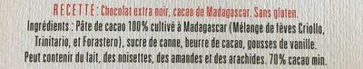 Chocolat extra Noir 70% Madagascar - Ingrédients
