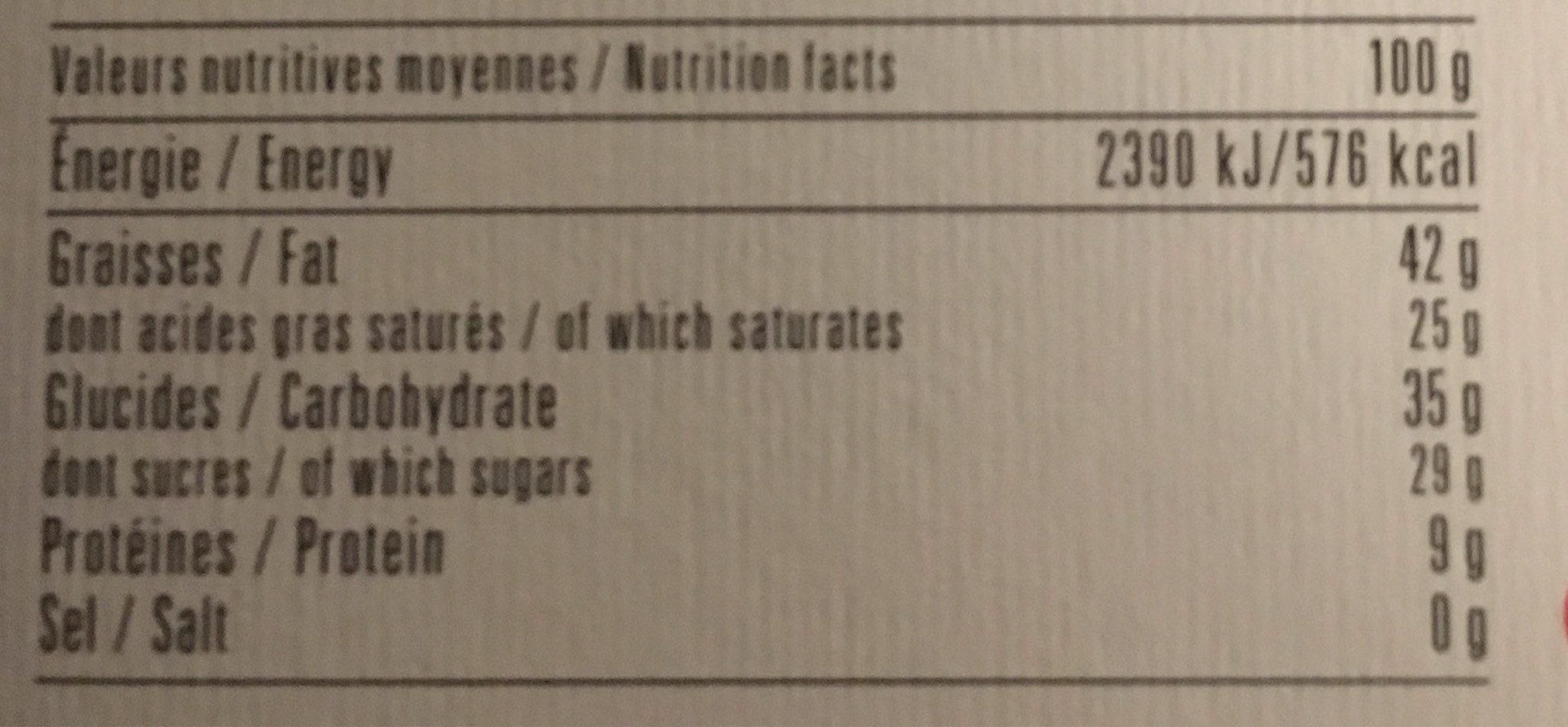 Chocolat extra Noir 70% Madagascar - Informations nutritionnelles