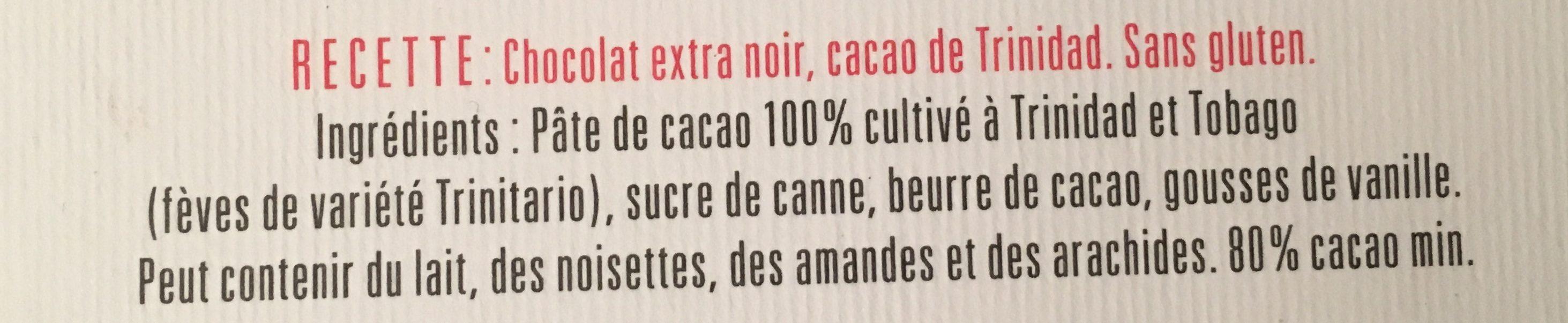Chocolat extra  Noir 80% - Ingrédients